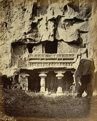 Façade of the Shrine of the River Goddesses, Kailasanatha rock-cut temple, Ellora